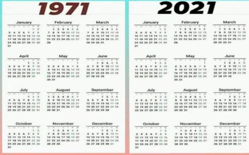حیرت انگیز ،2021 ءمیں وہی کیلنڈر واپس آگیا جو 50سا ل پہلے را ئج تھا