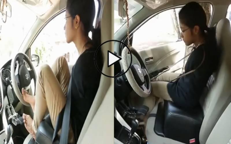 دونوں ہا تھوں سےمعذور خاتون نے پاؤں سے گاڑی چلا کر سب کو حیران کردیا۔۔ویڈیووائرل